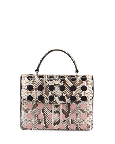 Top-Handle Dotted Python Crossbody Bag