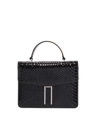 Top-Handle Shiny Python Crossbody Bag