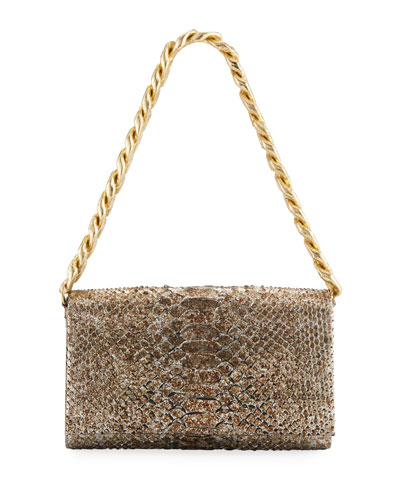 Carrie Convertible Chain-Trim Metallic Python Flap Bag
