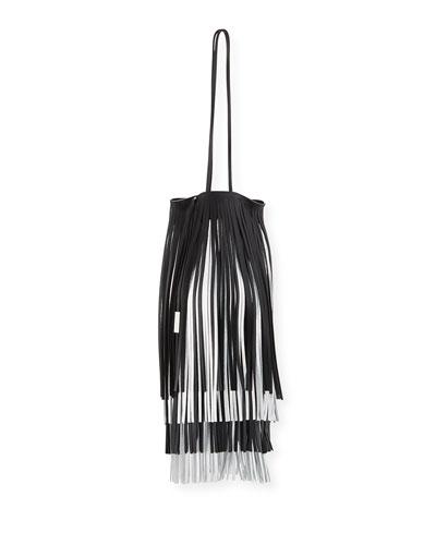 Short Fringe Two-Tone Bucket Bag