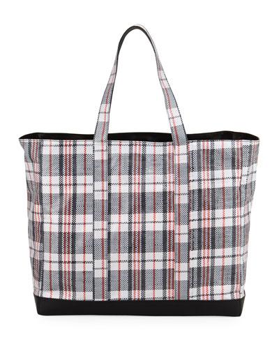 Woven Plaid Shopping Bag