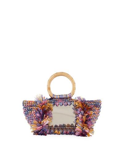 Corallina PVC Raffia Top Handle Bag