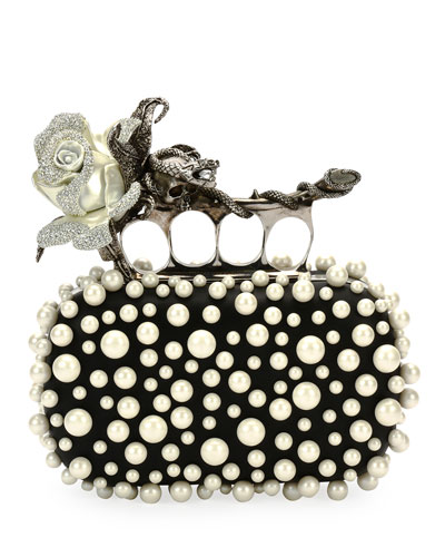 Crystal Rose Knuckle Clutch Bag