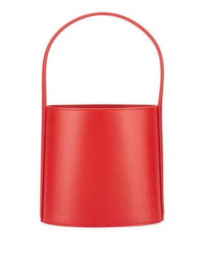 Leather Bisset Smooth Top Handle Bag, Red