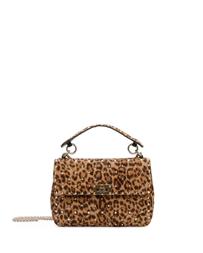 Rockstud Spike Medium Leopard-Print Shoulder Bag