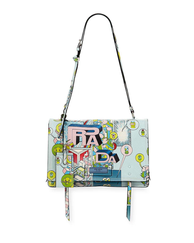 Prada Shoulder Etiquette Medium Comic Print Shoulder Bag, MULTI PATTERN