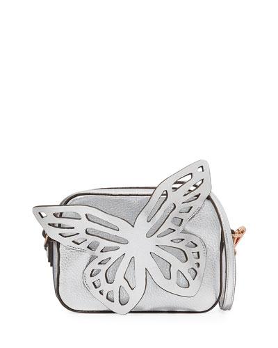 Flossy Butterfly Metallic Leather Crossbody Camera Bag
