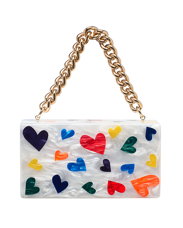 JEAN MINI HEARTS CLUTCH BAG