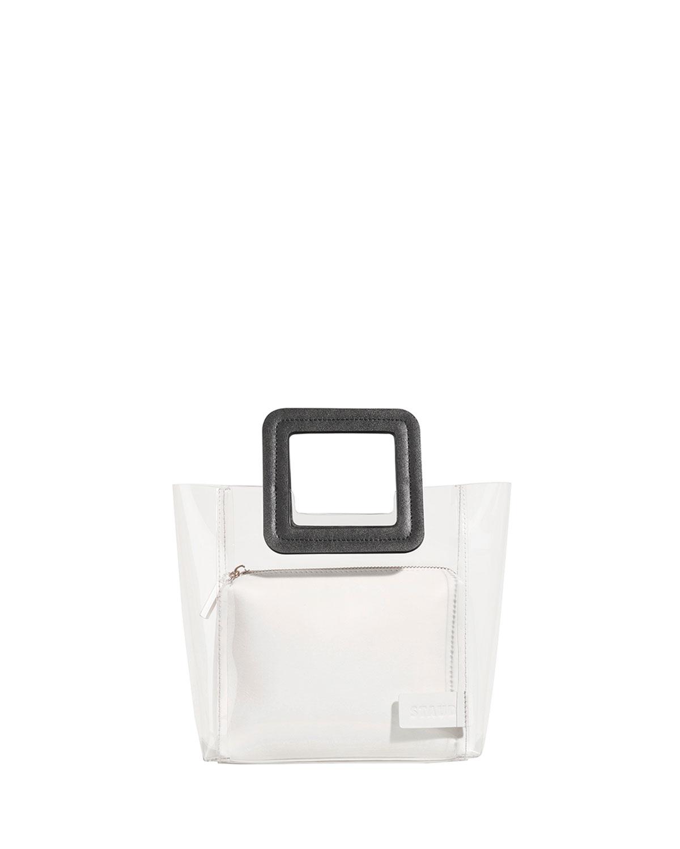 Staud Mini Shirley Sac Fourre-tout Pvc Et Cuir Colorblock, Blanc / Noir