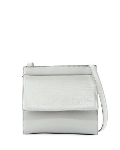 Fold-Over Calf Leather Crossbody Bag