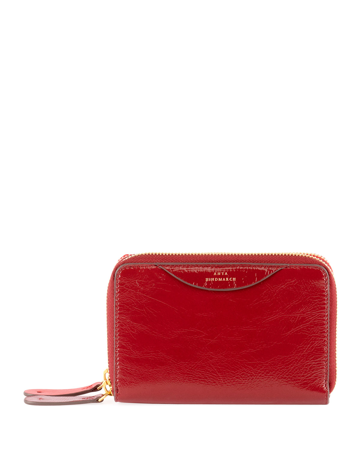 ANYA HINDMARCH STACK DOUBLE SHINY WALLET, RED