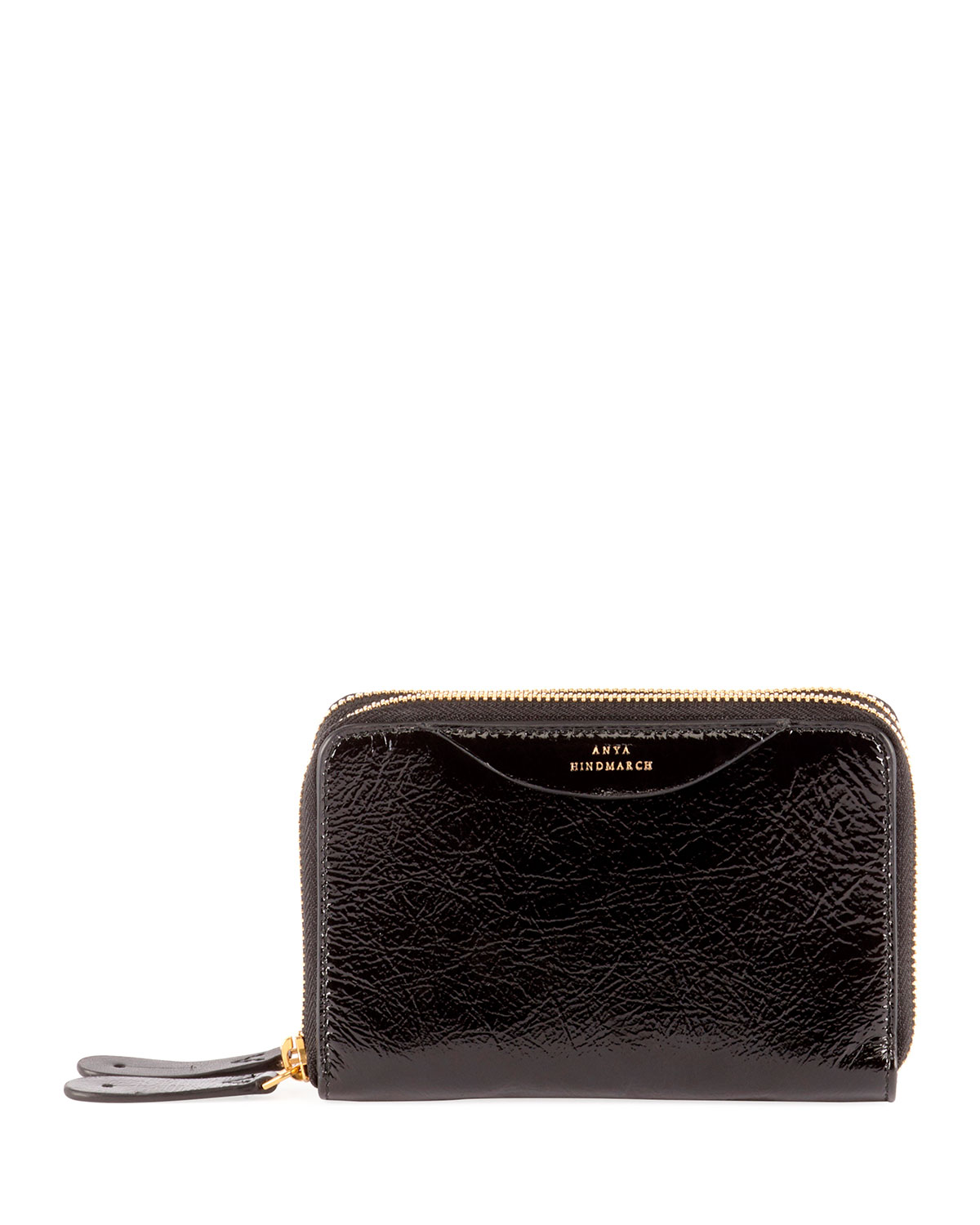 ANYA HINDMARCH STACK DOUBLE SHINY WALLET, BLACK