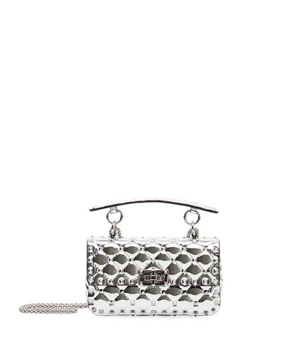 Rockstud Spike Small Metallic Leather Shoulder Bag