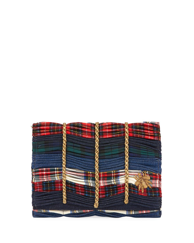 Mattia Embroidered Tartan Clutch Bag