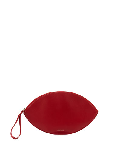 Leather Oval Clutch Bag