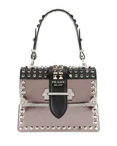 Studded Cahier Top-Handle Bag