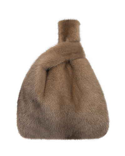 Furrissima Mink Fur Shopper Tote Bag, Cognac