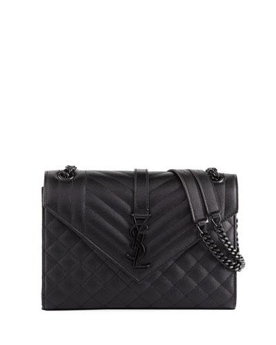 V Flap Monogram YSL Medium Tri-Quilt Envelope Shoulder Bag w/ Tonal Hardware
