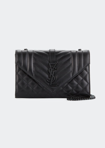 Monogram YSL Envelope Small Chain Shoulder Bag - Black Hardware