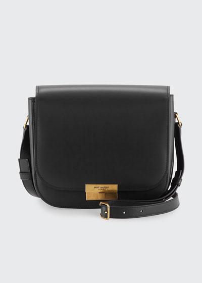Medium Calfskin Leather Flap Crossbody Bag with Logo Lock