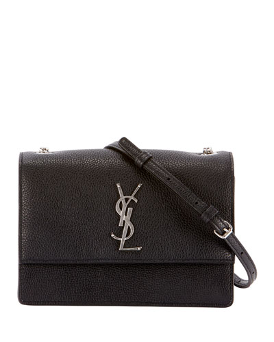 Monogram YSL Sunset Small Chain Pebbled Leather Shoulder Bag