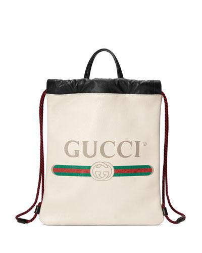 Gucci-Print Small Drawstring Backpack