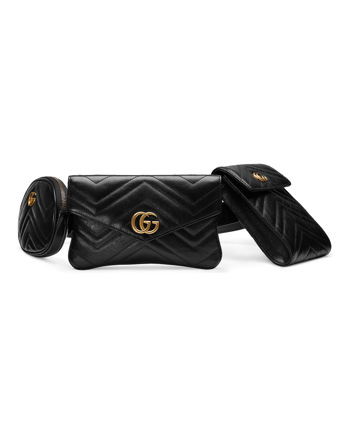 GG MARMONT 2.0 MATELASSE TRIPLE POUCH LEATHER BELT BAG - BLACK