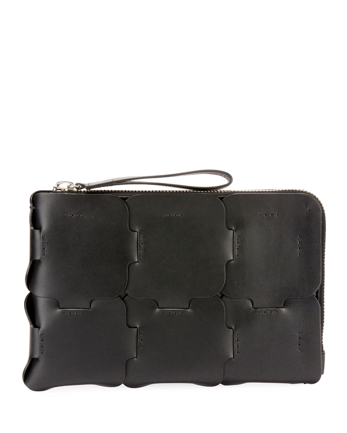 Zipped Leather Clutch Bag
