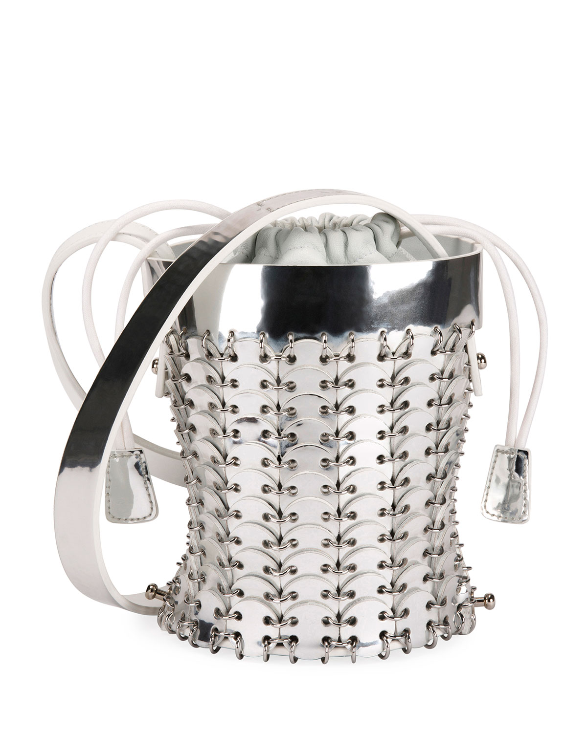 14#01 Chain-Link Mini Bucket Bag, Silver