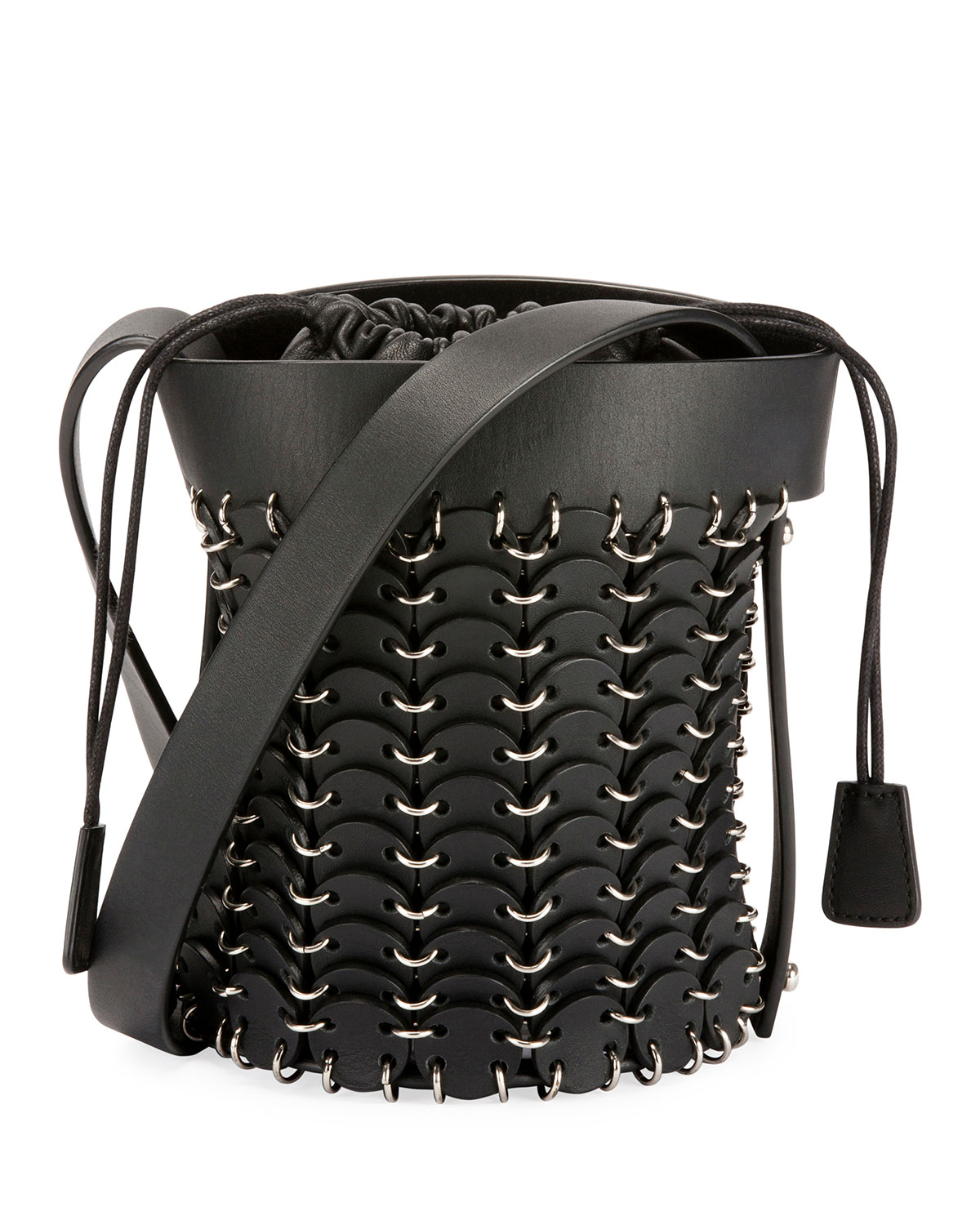 1401 Chain-Link Mini Bucket Bag, Black