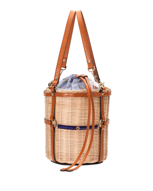 LINEA CESTINO SMALL RAFFIA SHOULDER BAG