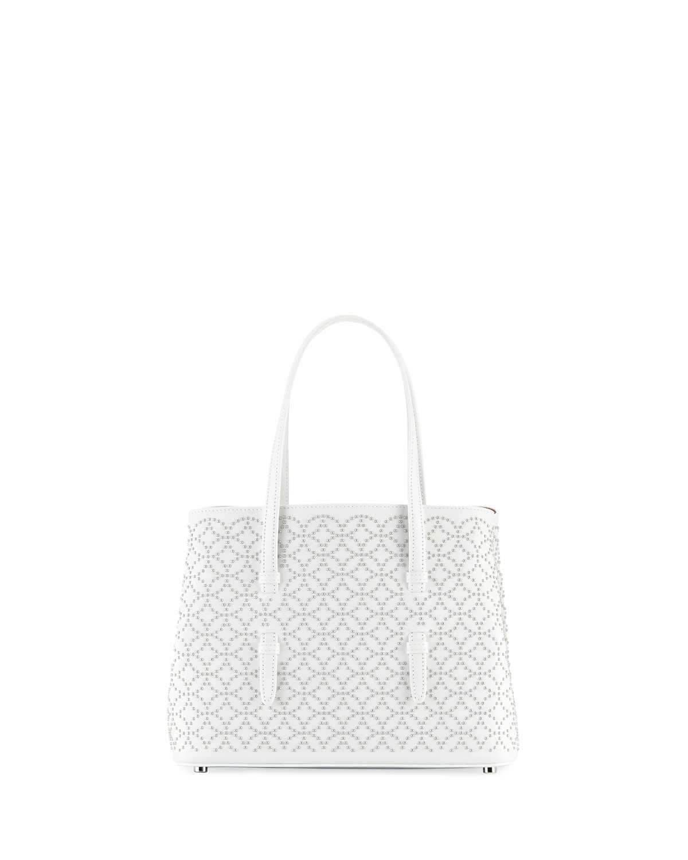 Studded Mini Tote Bag, White