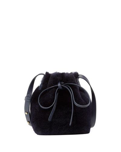 Mini-Mini Shearling Bucket Bag