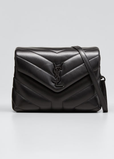 Loulou Toy Matelasse Calfskin Flap-Top Shoulder Bag, Black Hardware