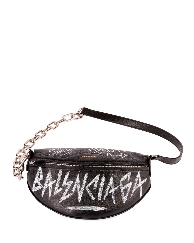 Balenciaga Graffiti Souvenir Leather Belt Bag - Black In Noir  Blanc ... 5afa8180619d7