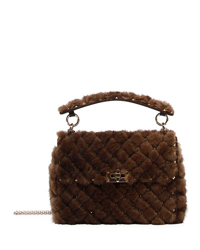 Spike.It Medium Quilted Fur Shoulder Bag