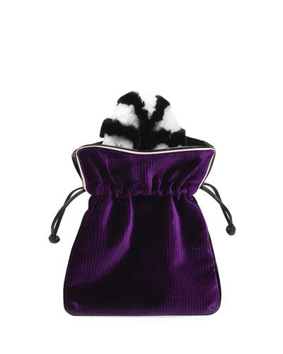 Trilly Velvet Fur-Handle Pochette Clutch Bag