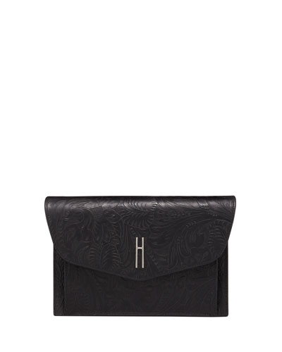 Bobby Black Tooled Leather Clutch Bag