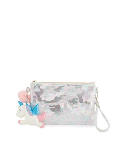 Bari Lynn Girls' Camo Pouch Bag w/ Fur