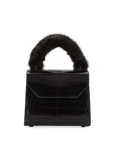 Lily Small Crocodile Mink Top Handle Bag