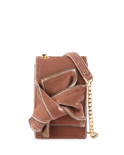 Velvet Jeweled Micro Crossbody Bag