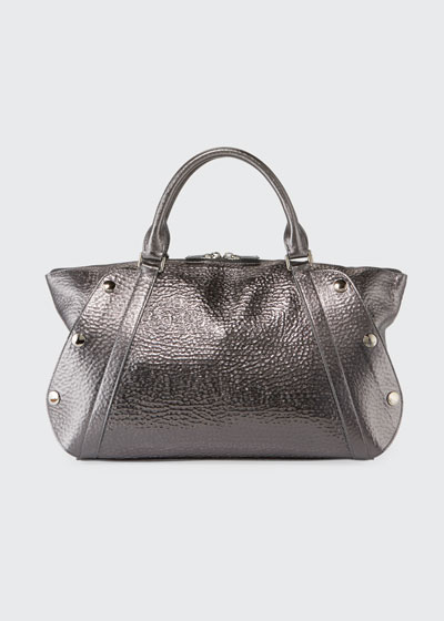 Aimee Small Metallic Hammered Leather Satchel Bag
