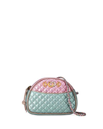 Trapuntata Mini Quilted Metallic Leather Crossbody Bag