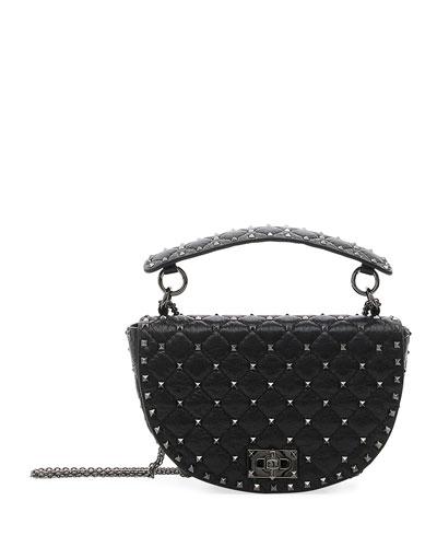 Rockstud Spike Agnello Leather Saddle Bag