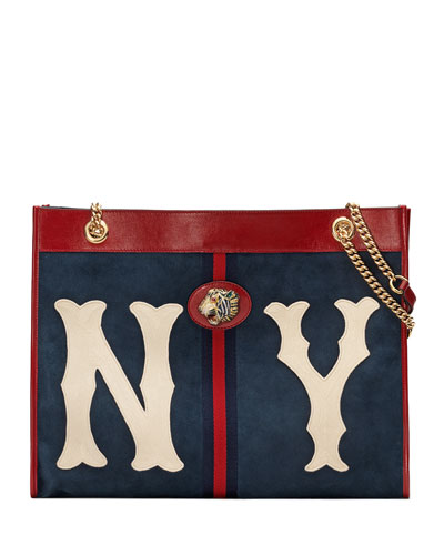 Rajah Large Suede Tote Bag with NY Yankees MLB Patch