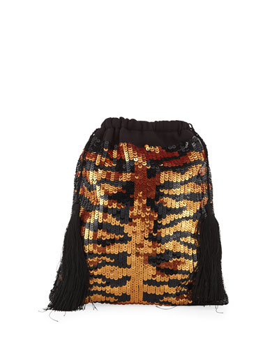 Full Sequin Tiger Pouch Bag