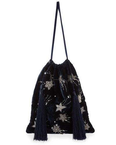 58f0967870 Velvet Stars and Moon Pouch Bag