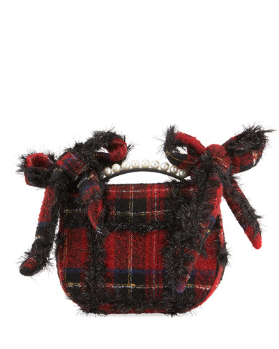 Embellished Tartan Pearly Crossbody Bag