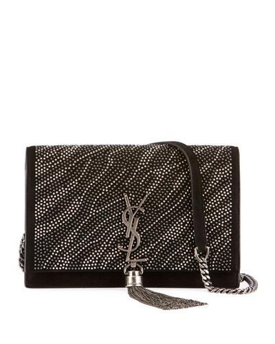 Kate Monogram YSL Zebra Crystal-Beaded Tassel Chain Crossbody Bag