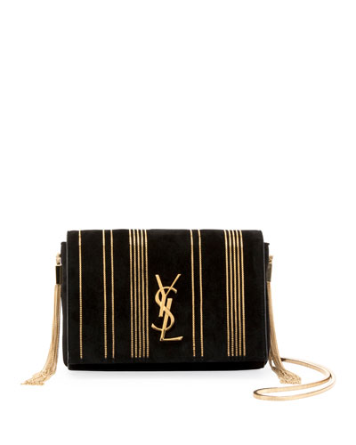 Kate Monogram Small Suede Tassel-Side Chain Crossbody Bag